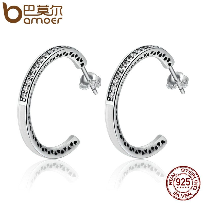 BAMOER 925 Sterling Silver Radiant Hearts White Enamel & Clear CZ Hoop Earrings for Women Sterling Silver Jewelry Bijoux SCE211