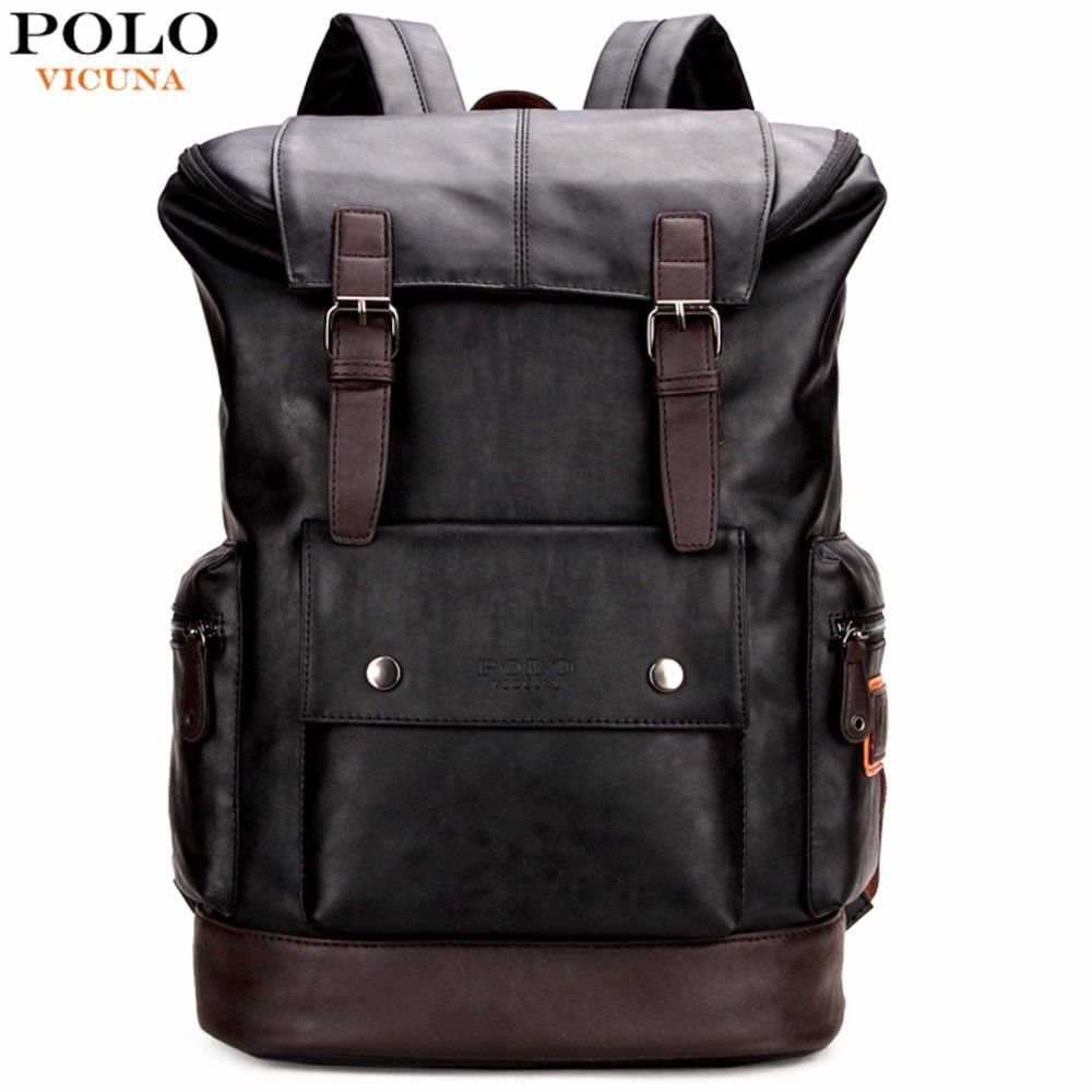 VICUNA POLO Simple Patchwork Large <font><b>Capacity</b></font> Mens Leather Backpack For Travel Casual mochila Men Daypacks Leather Travle Backpack