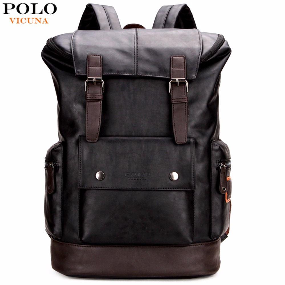 VICUNA POLO Simple Patchwork grande capacité hommes en cuir sac à dos pour voyage sac style décontracté hommes sacs à dos en cuir sac à dos de voyage