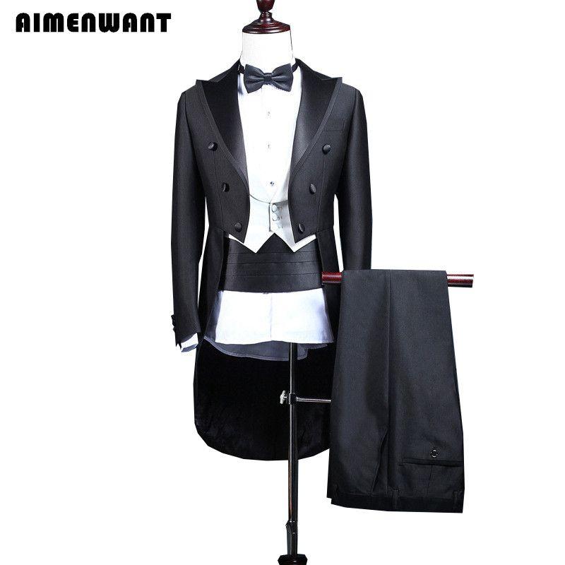 AIMENWANT Custom made Mens Stage Costume Korean Studio Tuxedo Suit Male Slim Groom Wedding Dress Suits(Jacket+Vest+Pants) 3pcs