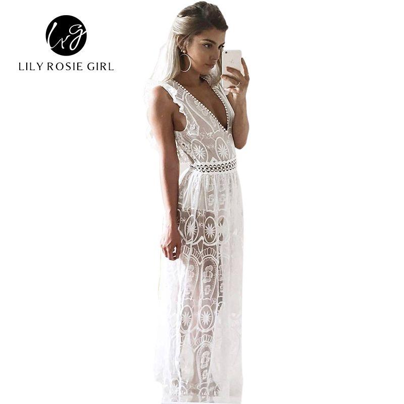 Sexy évider blanc dentelle robe femmes printemps taille haute sans manches dos nu robe élégante noël Maxi longue robe Vestidos