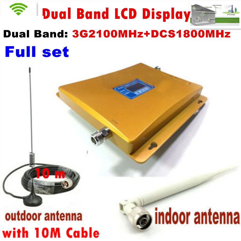 Best price!!! Newest 3G 4G LCD Signal booster ! DCS 1800 3G 2100 Mobile Phone Booster Amplifier 3G GSM Repeater + antenna 1 set