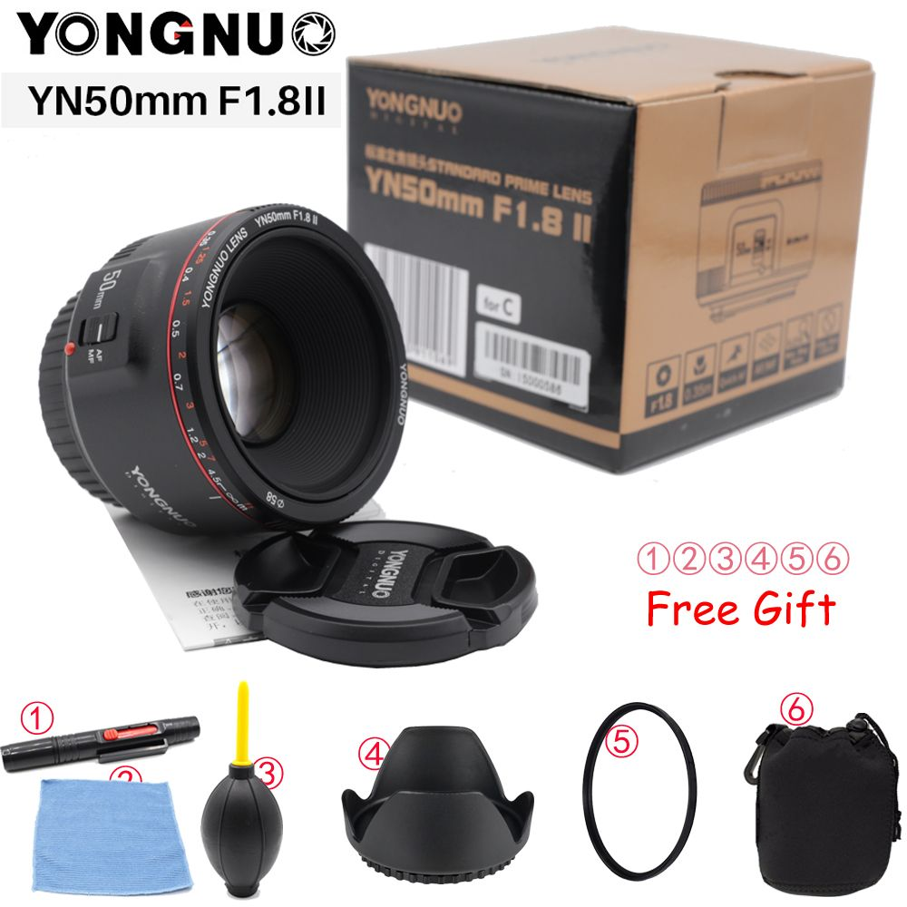 YONGNUO YN50mm F1.8 II Large Aperture Auto Focus Lens for Canon Bokeh Effect Camera Lens for Canon EOS 70D 5D2 5D3 600D DSLR