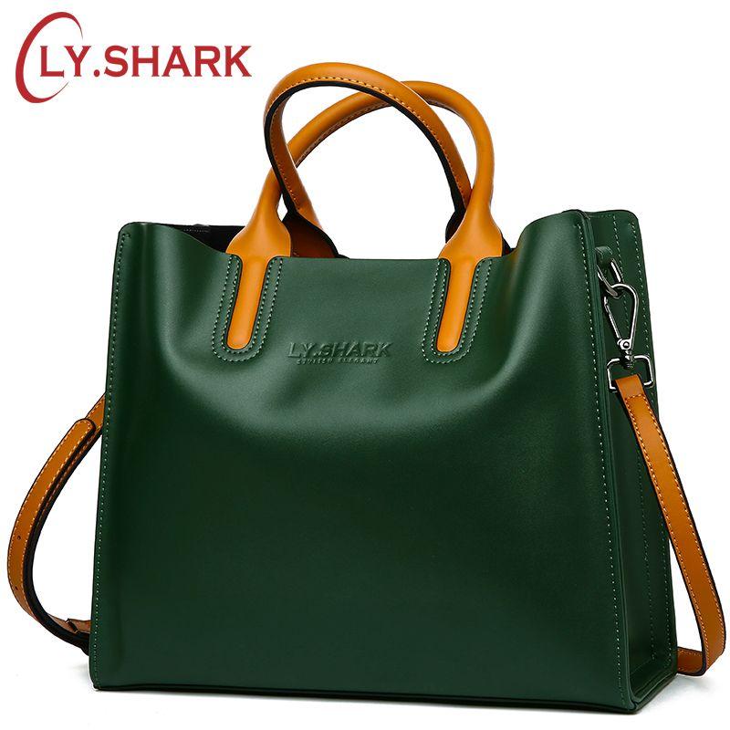 LY.<font><b>SHARK</b></font> Genuine Leather Bag Ladies Handbag Women Shoulder Bag Women Messenger Bag Female Crossbody Bag Tote Tablets Big 2018