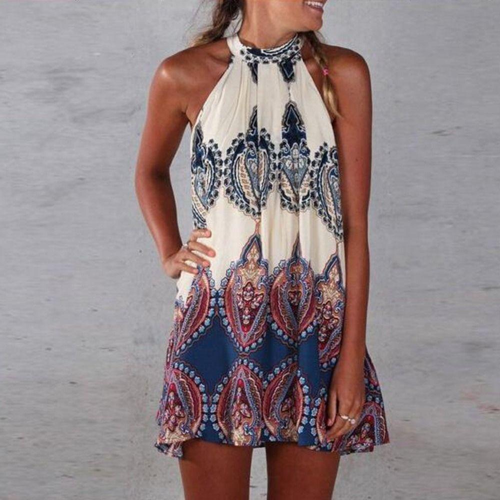 2017 Vintage Sommer Kleid Frauen Kurzes Kleid Gedruckt Neckholder Sleeveless Beach Party Minikleider Beige Vestidos De Festa