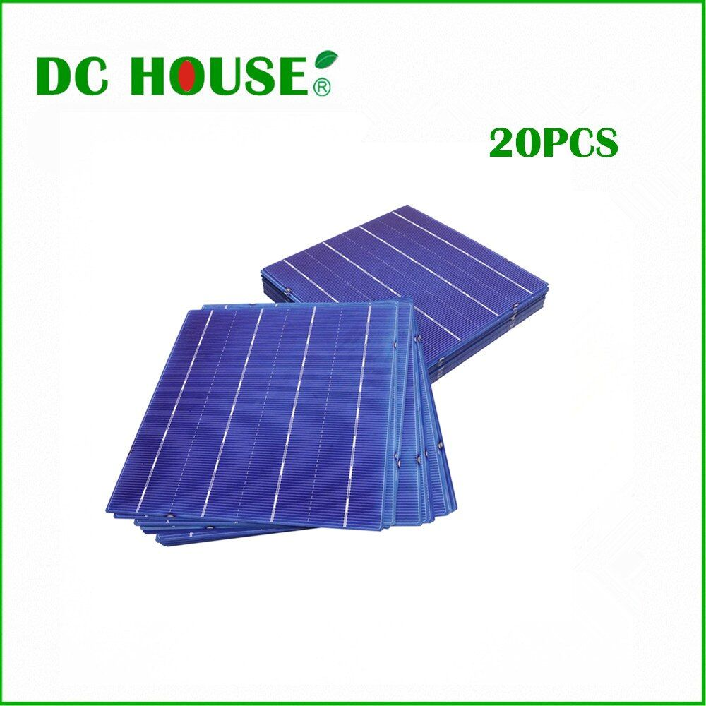 6x6 20 stücke 80 Watt Ein Grad 4 Bars 4,3 Watt DIY Solar Panel 156x156mm polykristalline Solarzellen Preis solargenerator