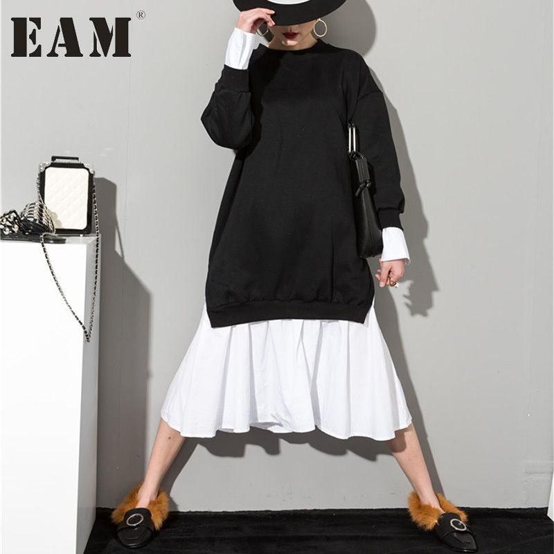 [EAM] 2018 New Autumn Solid Color Round Neck Long Sleeve Black White Split Joint Women Korean Sweatshirts Dress AS20941