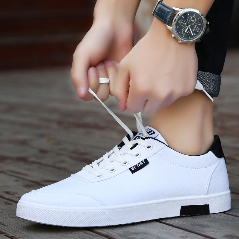 Men shoes 2018 new fashion casual students white board shoes men trend of breathable canvas shoes sneakers zapatos <font><b>hombre</b></font>