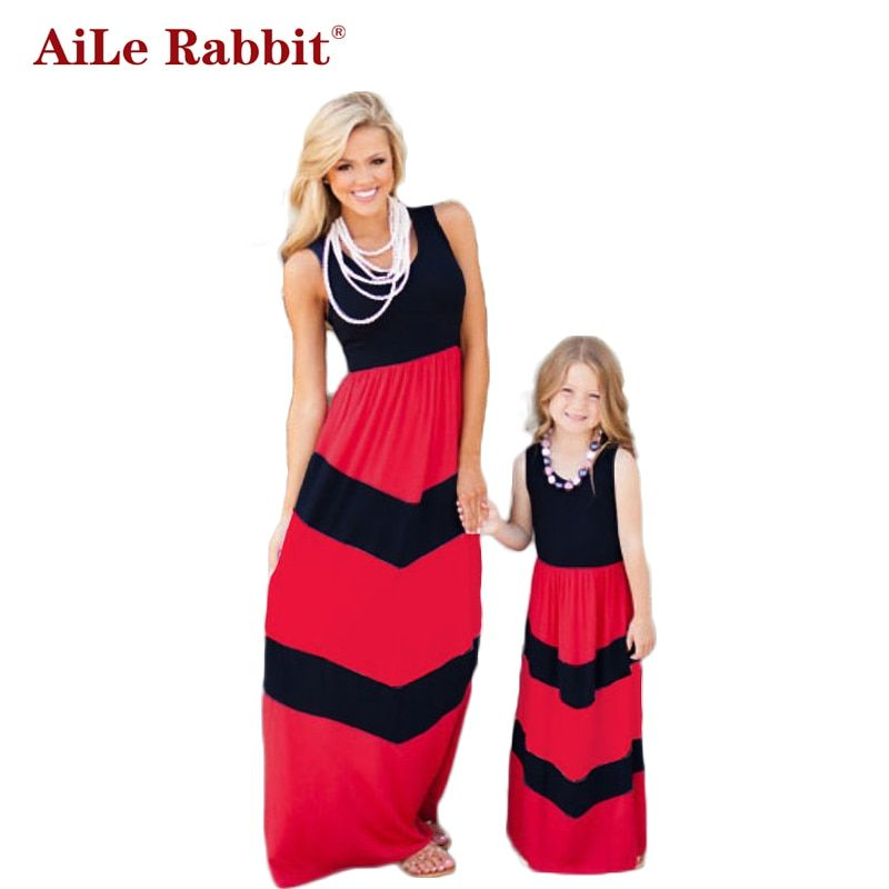 AiLe Rabbit Summer Style Family Matching Outfits Mother Daughter Dresses Contrast Blue A-Line Dress Mother & <font><b>Kids</b></font> Clothes k1