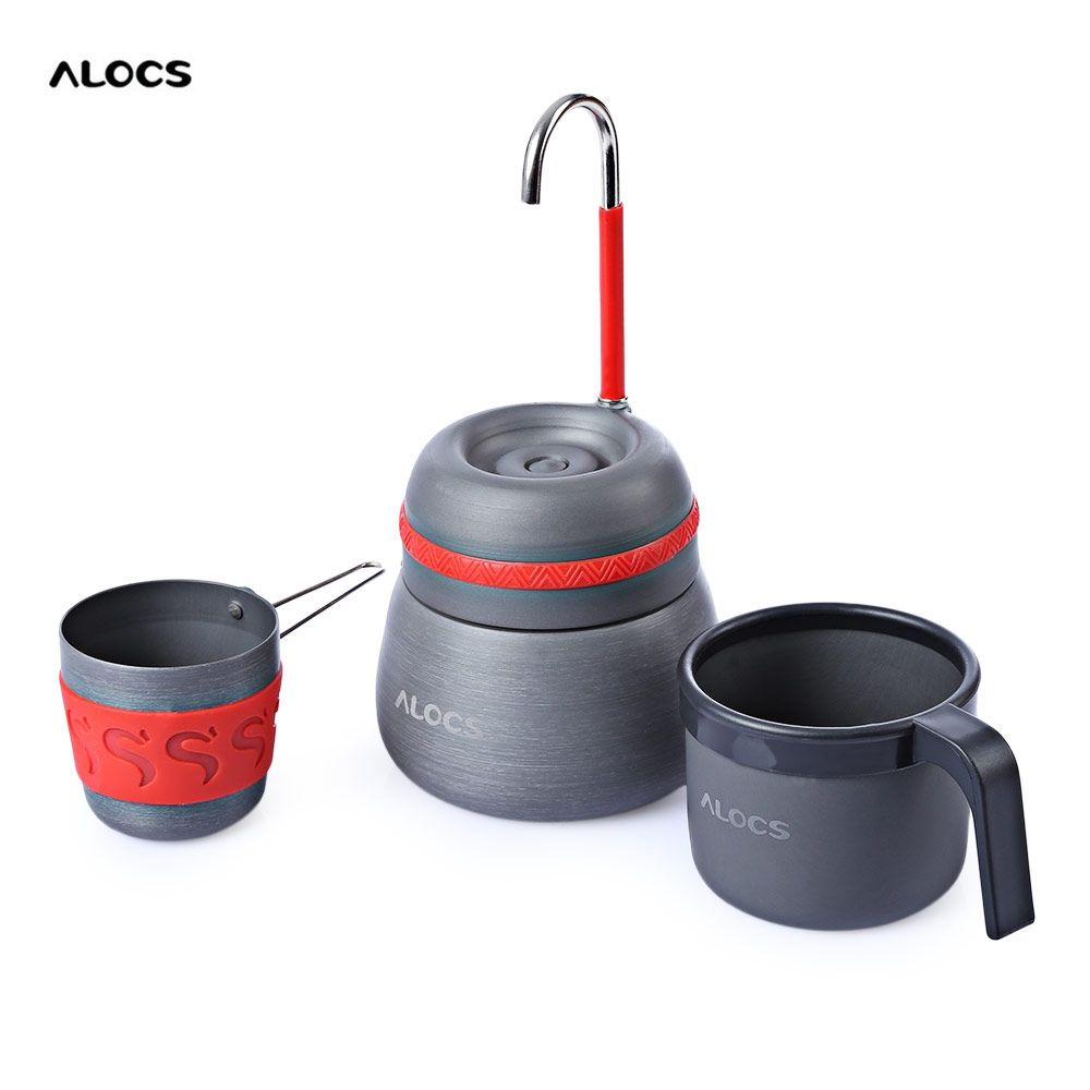 ALOCS 350ml Tea Pot Portable Outdoor Camping Aluminum Alloy Thermal Coffee Stove Maker Pot w/ 2 Cups for Fishing Cooking Picnic