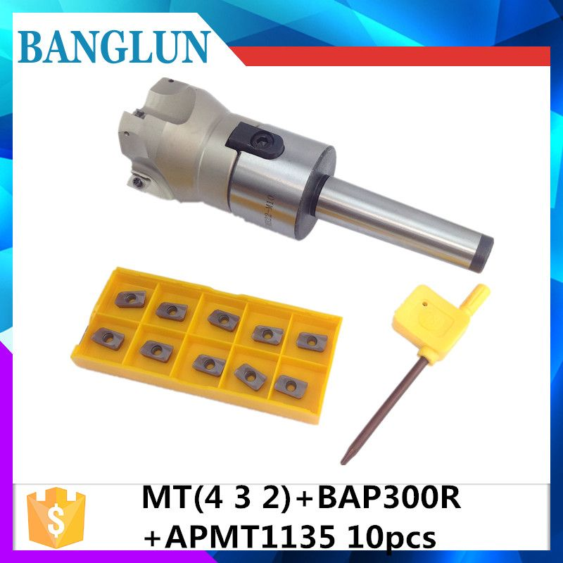 New MT2 FMB22 M10 MT3 FMB22 M12 MT4 FMB22 Shank 300R 50 22 50mm Face Milling CNC Cutter + 10pcs APMT1604 Inserts For Power Tool