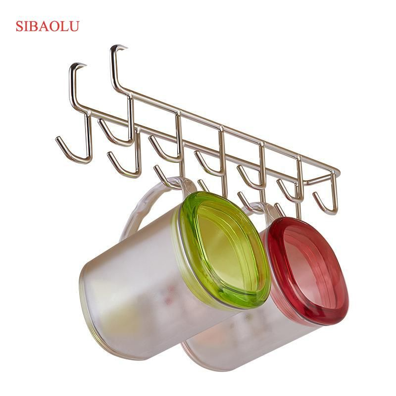 Stainless Steel Cupboard Hanger Kitchen Tool Towel Chest Hook Closet <font><b>Hanging</b></font> Cup Drainer Wardrobe Clothing Storage Hooks