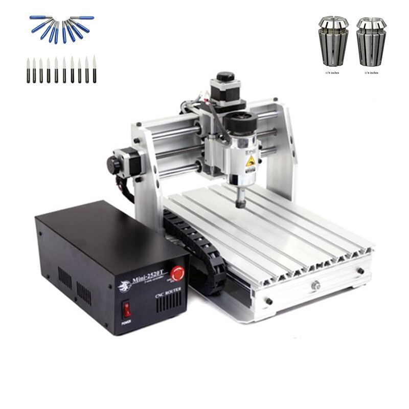 mini cnc router 2520 250X200mm working area with free cutter