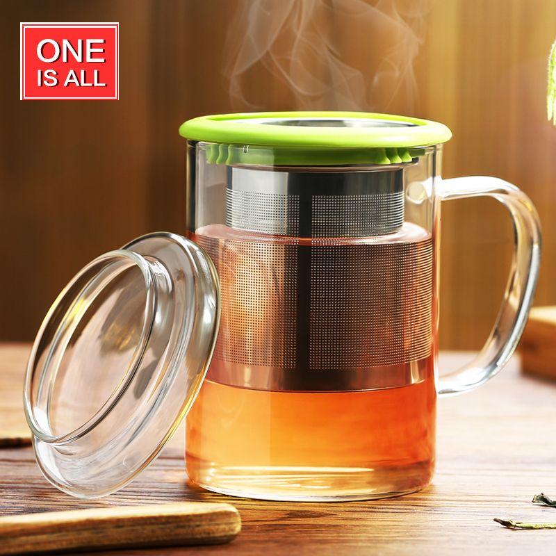 OneIsAll 400 ml Verre Borosilicate Coupe Verre Tasse de Thé Tasse w/t Infuser et Coaster Couvercle, Résistant À la chaleur en verre tasses tasses