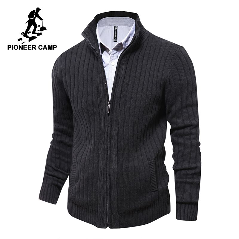 Pioneer Camp men sweaters knitted zipper cardigan male Top <font><b>quality</b></font> famous brand clothing christmas sweater