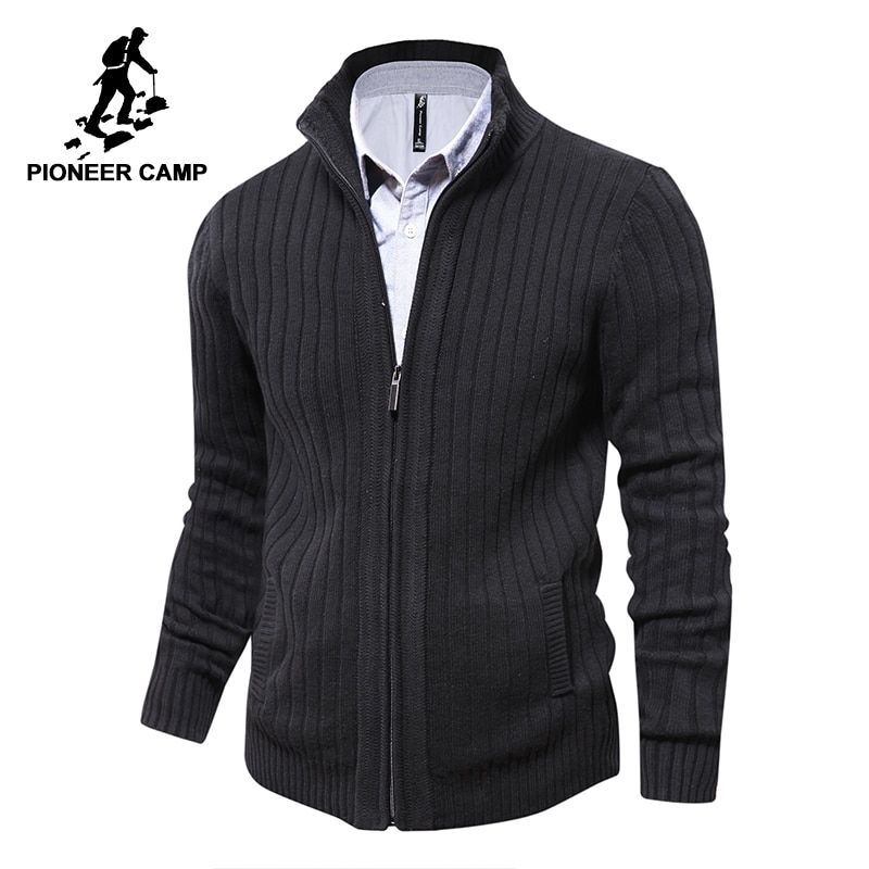 Pioneer <font><b>Camp</b></font> men sweaters knitted zipper cardigan male Top quality famous brand clothing christmas sweater