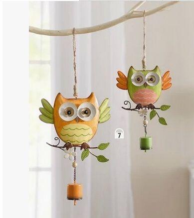 Livraison gratuite. Maison & Jardin décoration ornement magasin de jardinage enfants chambre décor de métal hibou carillons éoliens. Mignon hibou Campanula