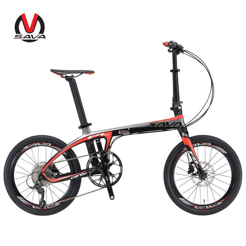 SAVA Faltrad 20 zoll Klapp Fahrrad Ultraleicht Carbon folding Bike Rahmen 20 mini bike 9 Speed Bike Tragbare Kleine fahrrad