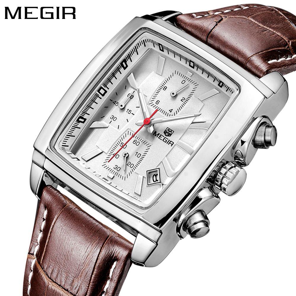 Megir rectangle Luxury Top brand Quartz Watch Men Leather business wrist Watch chronograph waterproof Quartz-watch Male