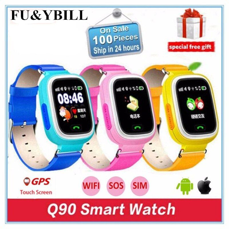 Q90 Q80 GPS Phone Positioning Fashion Children Watch 1.22 Inch Color Touch Screen SOS Smart Watch PK Q50 Q60 Q730 Q750 V7K A6