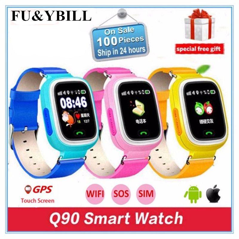 Q90 Q80 GPS Phone Positioning Fashion Children Watch <font><b>1.22</b></font> Inch Color Touch Screen SOS Smart Watch PK Q50 Q60 Q730 Q750 V7K A6
