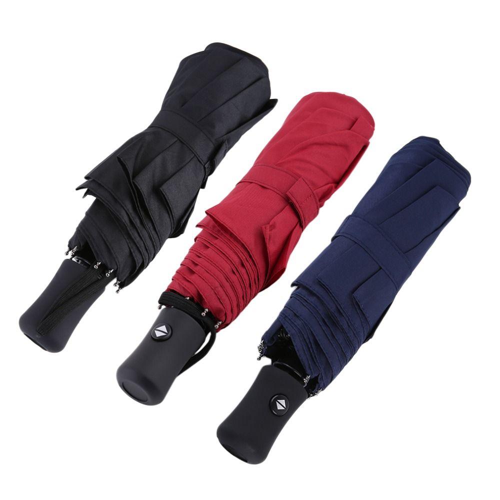 3 Colors Durable Advanced Fully-Automatic Rain Umbrella UV-proof Three Folding <font><b>Business</b></font> Solid Sunshade Umbrella 94*66cm