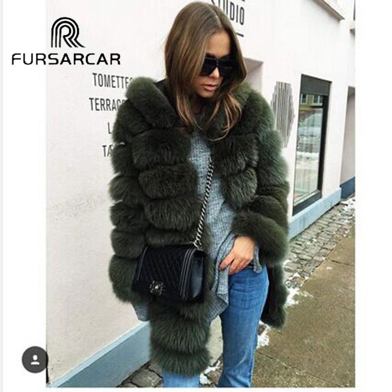 Winter Real Fur Coat Women Winter Genuine Leather Fur Female Jacket With Hood Fashion Warm Thick Lady Long Natural Real Fur Coat