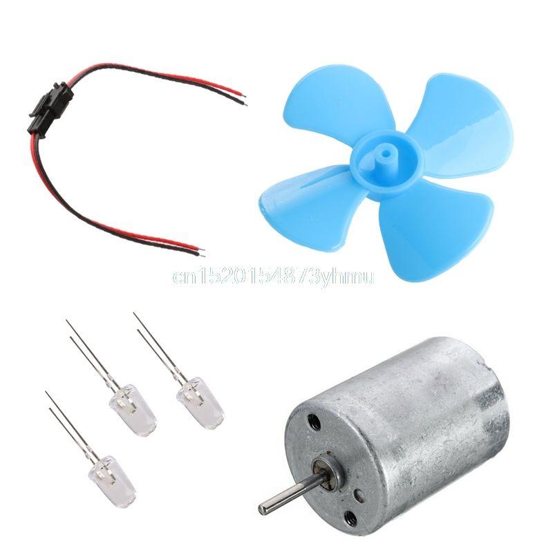 Micro Wind Turbines Generator Mini Motor With Blades LED DIY Kit - L057 New hot