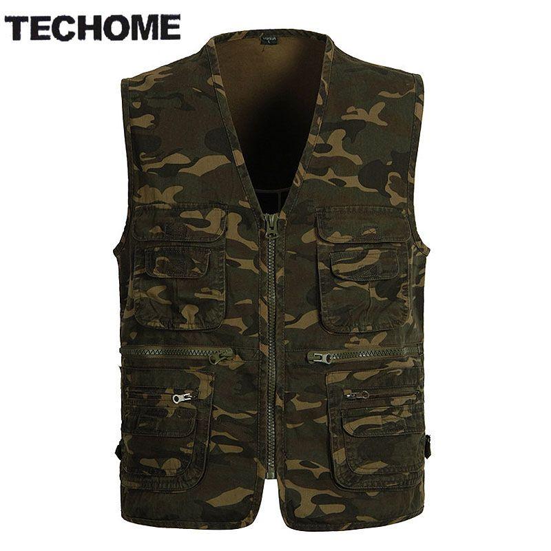 TECHOME Multi Pocket Camouflage Fish Vest Men Casual Travel Breathable Waistcoat Cotton Fish Sleeveless Jacket Camo Hunt Vests