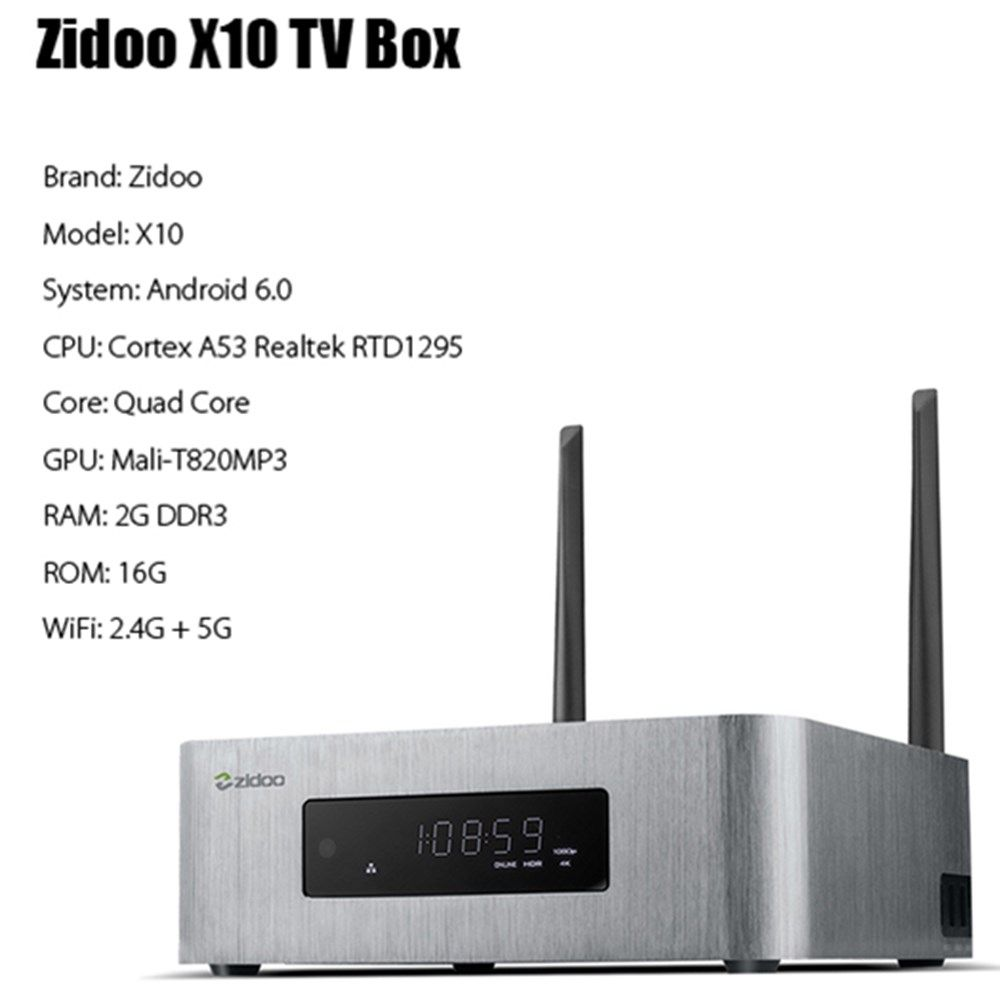 ZIDOO X10 Andoid 6,0 Smart TV Box Dual System Quad Core 2g/16g Dual Band WIFI 1000 mt LAN HDR USB 3.0 SATA 3,0 Media Player
