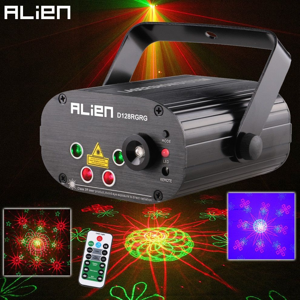 ALIEN Remote Dual Red Green 128 Patterns Stage Laser Projector Lighting Effect DJ Disco Party Club Bar Xmas Light With Blue LED