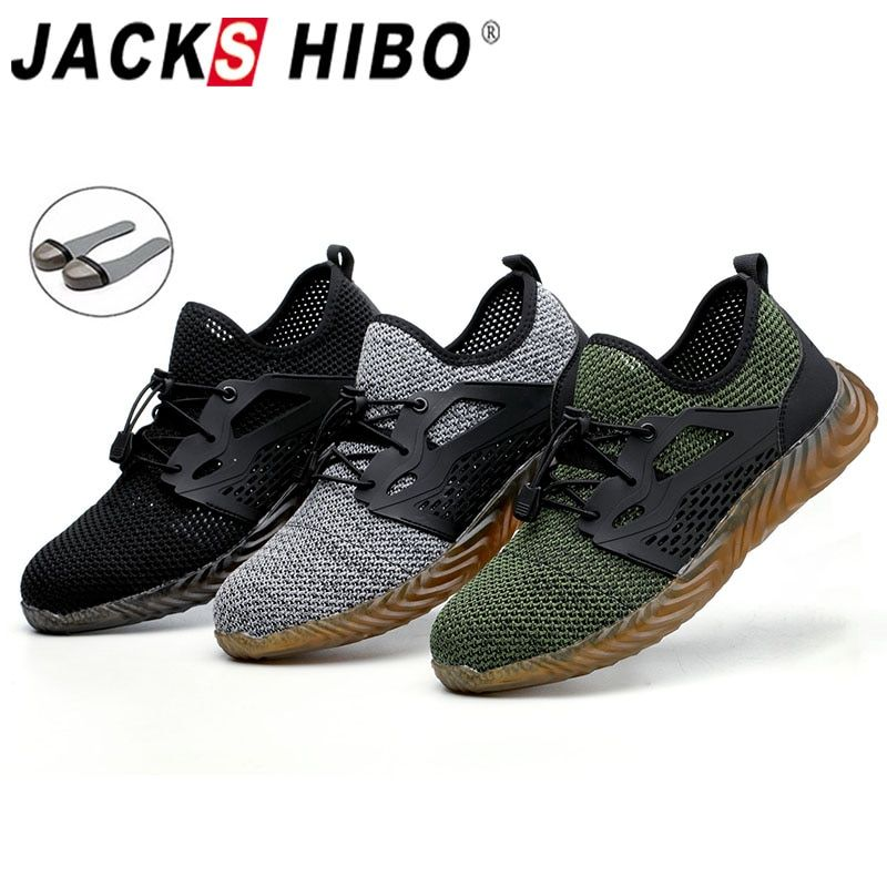 JACKSHIBO Safety Work Shoes Boots For Men Male Protective Steel Toe Cap Boots Anti-Smashing Construction Safety Work Sneakers