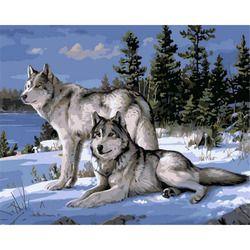 Без рамки волк животные DIY Краска ing комплекты номеров краски на холсте акриловая окраска картина по номерам для домашнего декора стен