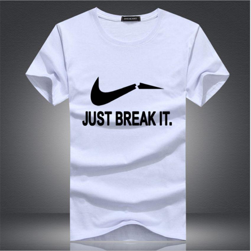 Новый Лето 2017 г. модные Just break it Дизайн футболка Для мужчин; Высокое качество удобные из хлопка с круглым вырезом