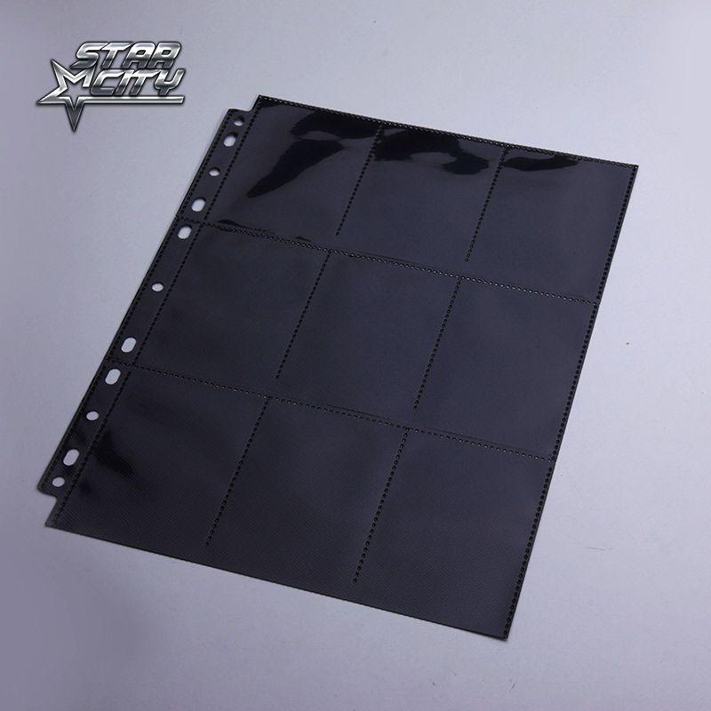 Черный двухсторонней 18 карманов страницы trading card протекторы для Настольные игры MTG Покемон Yugioh TCG