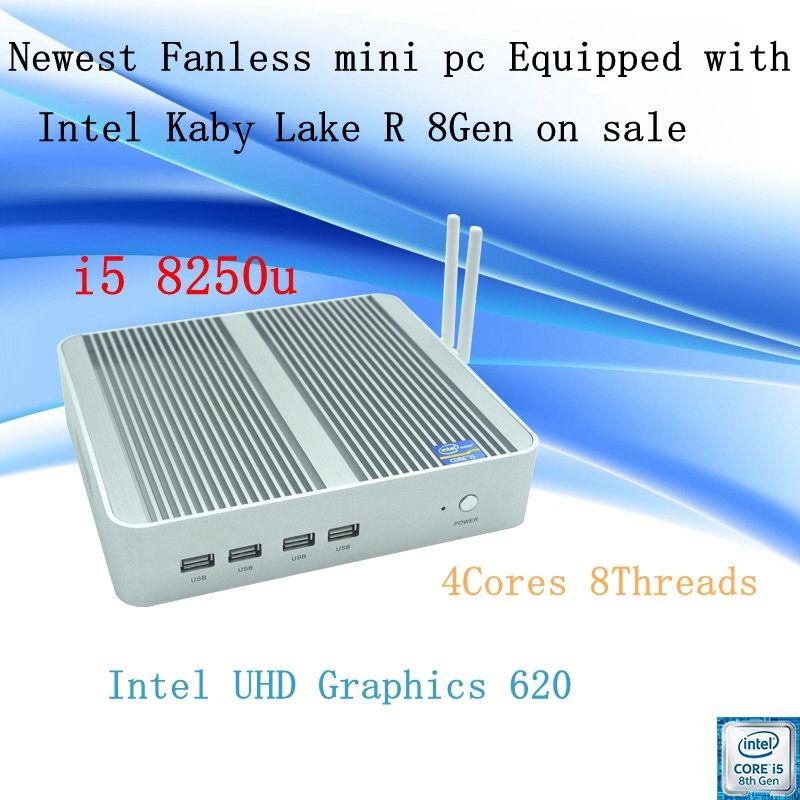 Neueste Kaby See R 8Gen Fanless mini pc i5 8250u Intel UHD 620 win10 Quad Core 8 Threads DDR4 2133 2400 NUC Freeshipping pc