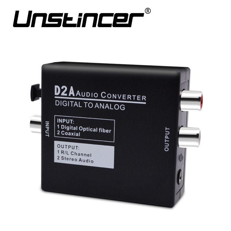Digital a Analógico Convertidor de Audio Digital Toslink Coaxial Óptico al Adaptador de Audio Analógico RCA L/R 3.5mm con Cable óptico