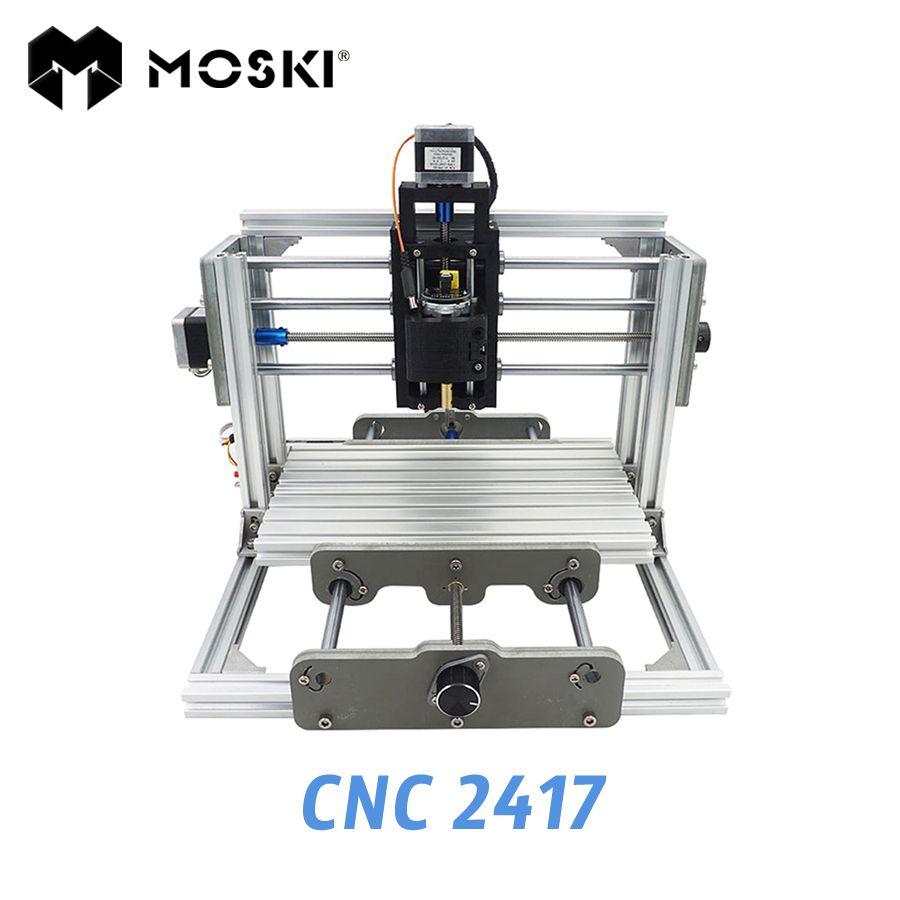 MOSKI, 2417 machine de gravure de bricolage, 3 axes mini Pcb Pvc Fraisage, métal et bois Sculpture, grbl contrôle