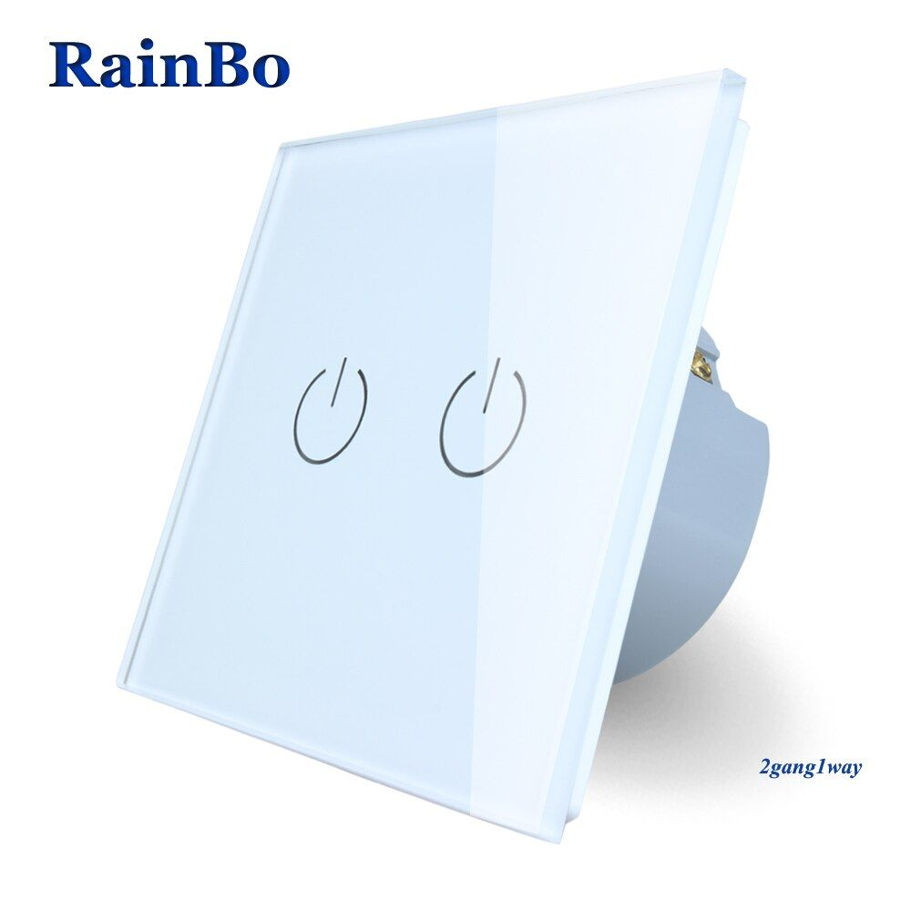 RainBo Brand New Crystal Glass Panel wall switch EU Standard 110~250V Touch Switch Screen Wall Light Switch 2gang1way A1921W/B