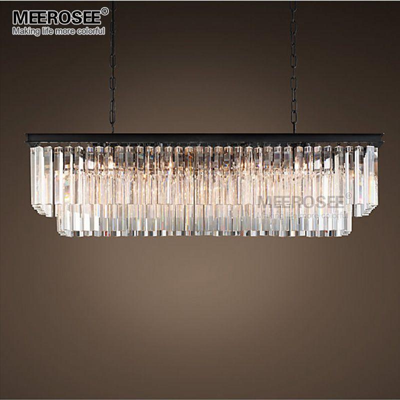 Luminaire suspendu en cristal moderne lampe suspendue en cristal Rectangle lampe suspendue en cristal populaire