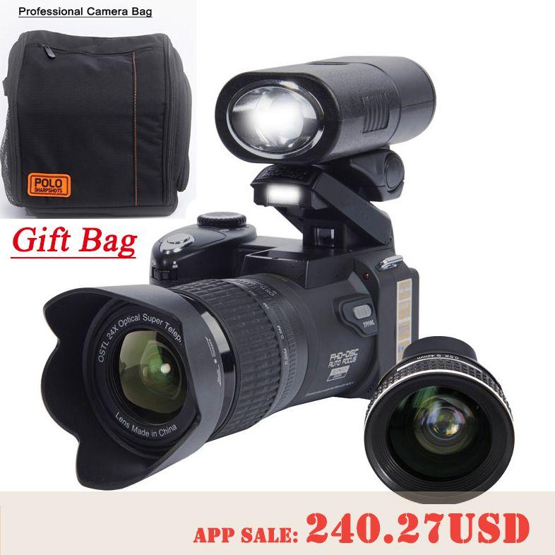 Protax D7300 цифровых камер 33MP профессиональных камер DSLR 24X Оптический зум телеобъективы и 8X Широкий формат объектив СВЕТОДИОДНЫЙ прожектор штат...