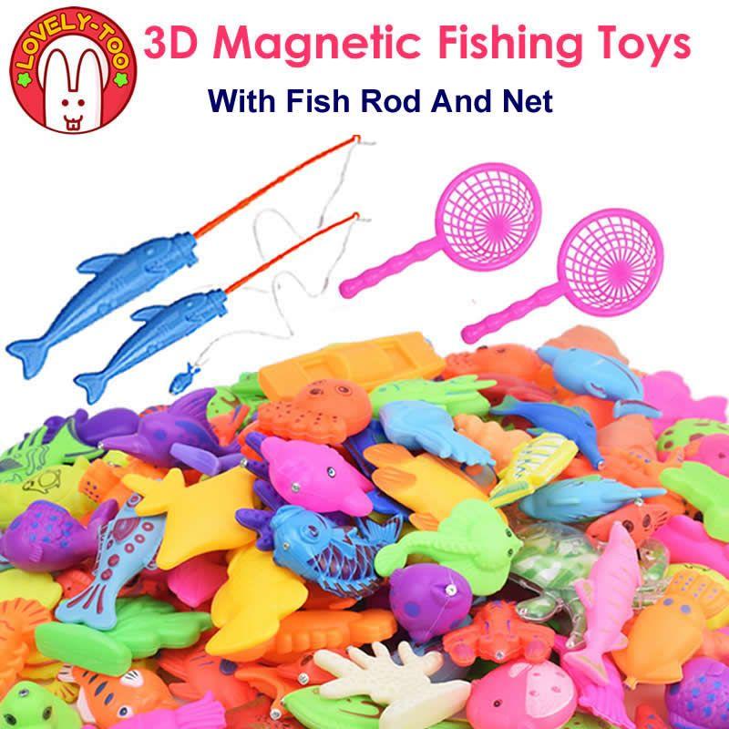 Belle Trop De Pêche Magnétique Jouets Jeux En Plastique 3D Poissons Avec Tige Net Astuces Parent Enfants jouet Amusant En Plein Air Cadeaux Éducatifs