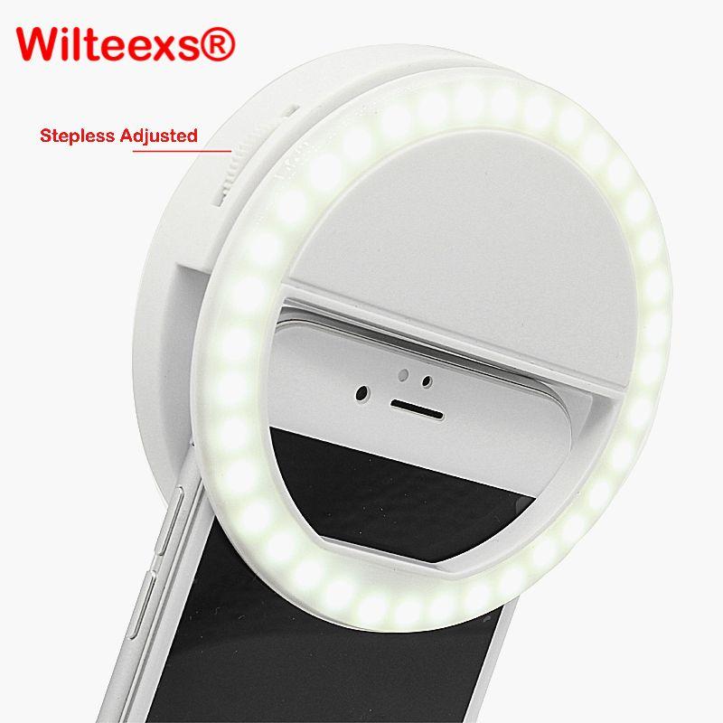 WILTEEXS 36 Led Stepless ajusté Selfie anneau Flash lumière caméra amélioration photographie lampe lumineuse pour iPhone7 6 Samsung S5 S4