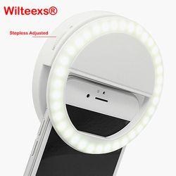 Wilteexs 36 LED stepless ajustado selfie anillo de luz de flash Cámara mejorando la fotografía lámpara luminosa para iPhone7 6 Samsung S5 S4