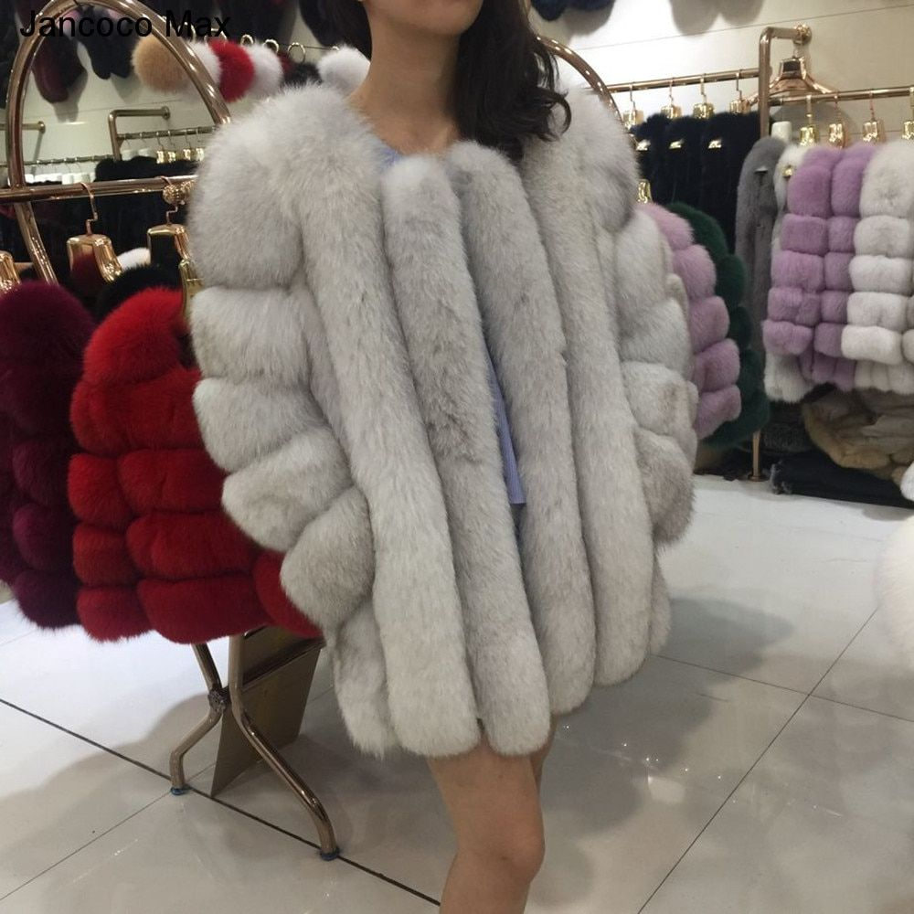 Jancoco Max 2018 Women's Winter Thick Warm Real Fox Fur Long Coats Outerwear Top Quality Fashion Jacket Casual Overcoat S7158