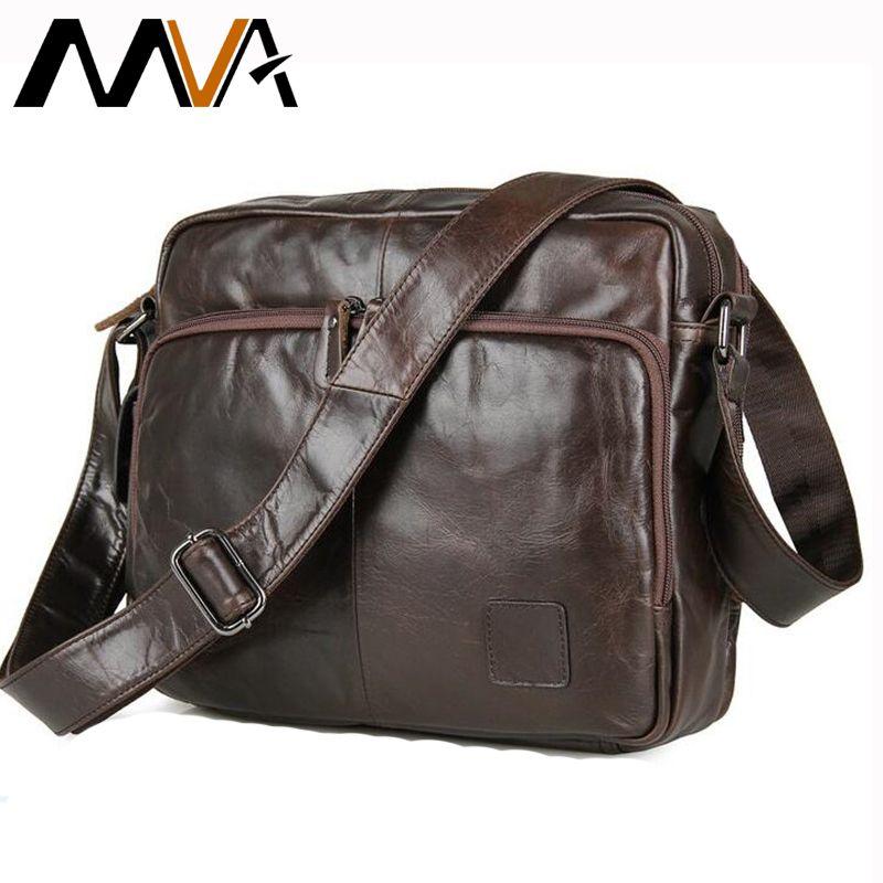 MVA Men Shoulder Bags Genuine Leather Crossbody Bags Multifunction Messenger Bag Men Leather iPad Holder Men's Leather Bag Strap