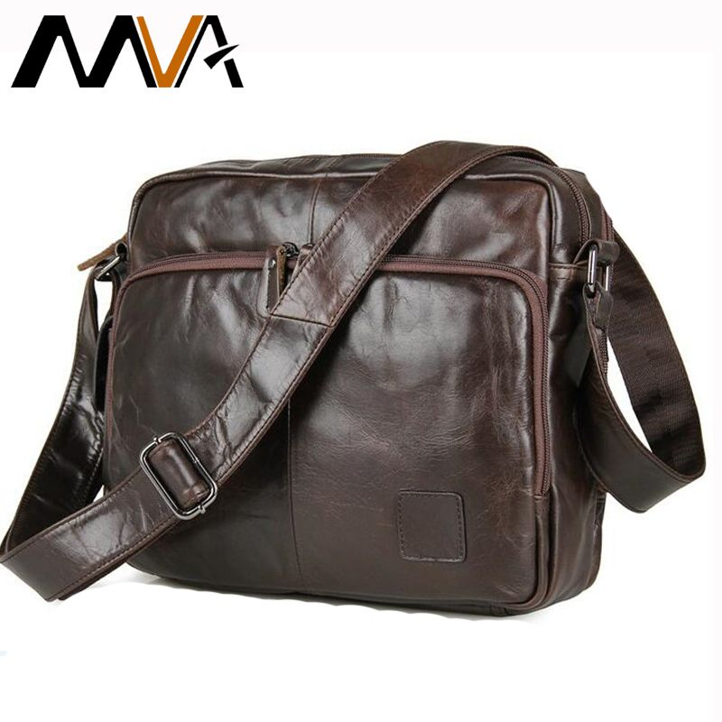 MVA Men Shoulder Bags Genuine Leather Crossbody Bags Multifunction Messenger Bag Men Leather iPad Holder Men's Leather Bag Strap