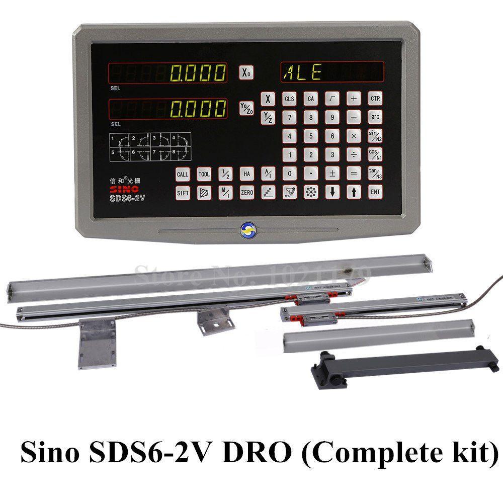 Fräsen Drehmaschine DRO Digitale Anzeige Kit Sino SDS6-2V 2 Achsen Digital Display und KA-300 Digital Optical Linear Glas Maßstab Lineal