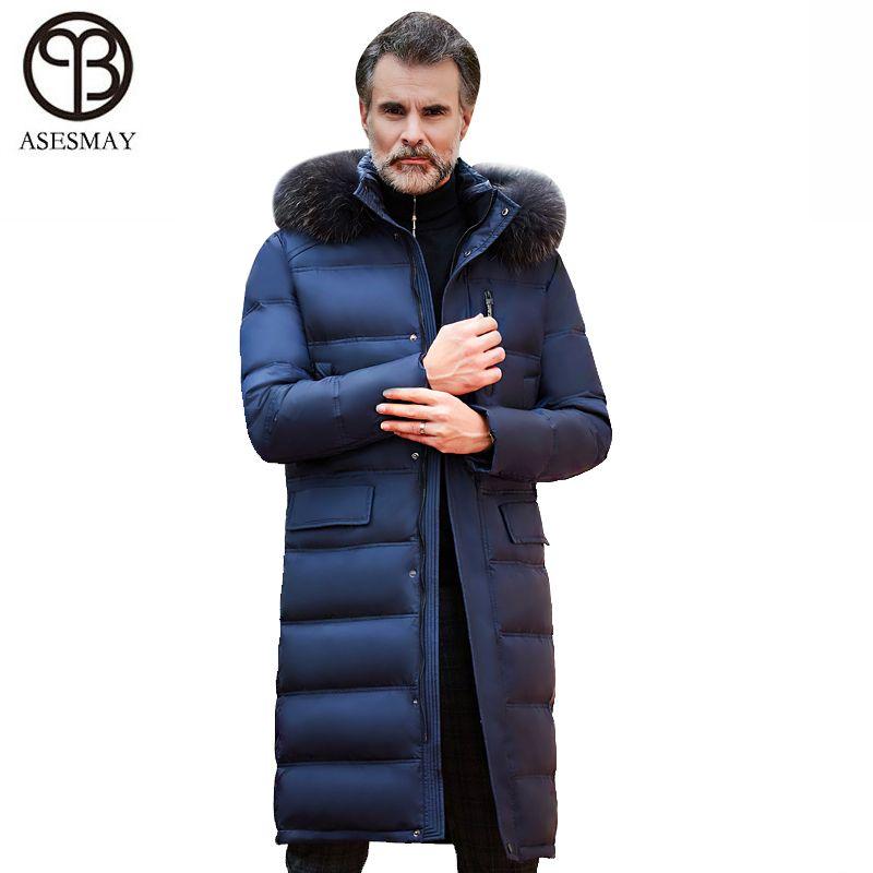 Asesmay Marke Kleidung Männer Winter Jacke Weiße Ente Unten Hohe Qualität Warme Starke Overknee X-lange Gans Feder Mantel parkas