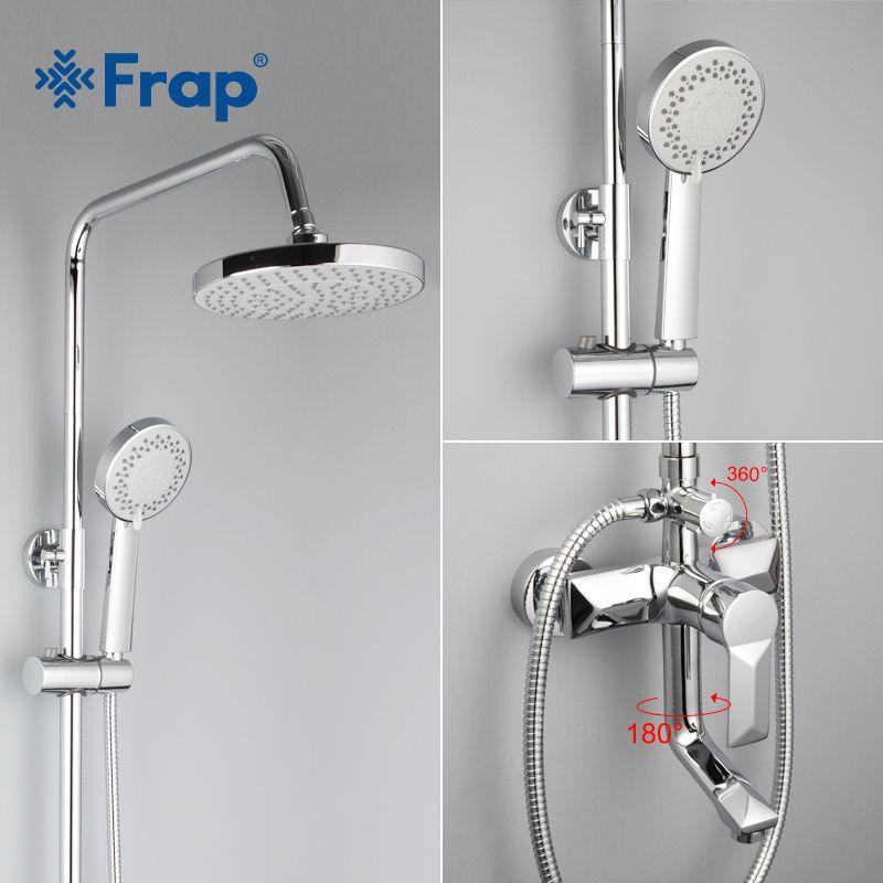 Frap 1 Set Bathroom Rainfall Shower Faucet Set Mixer Tap With Hand Sprayer Wall Mounted Bath Shower Sets Single Handle F2418